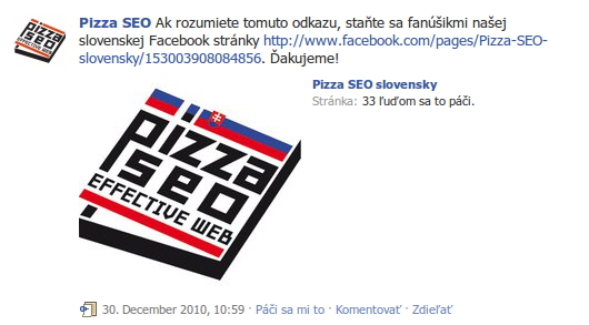 Pizza SEO status na facebooku