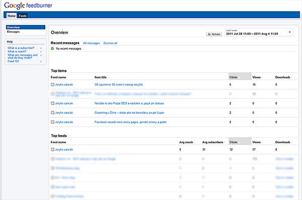 Nové rozhranie RSS analytickej služby FeedBurner