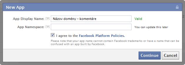 Facebook aplikácia - vytvorenie