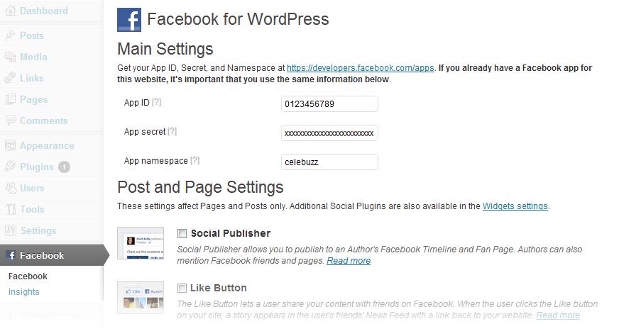 Instalacia Facebook modulu do WordPressu