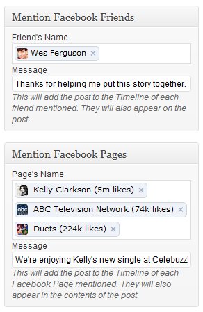Otagovanie ludi, cez Facebook plugin